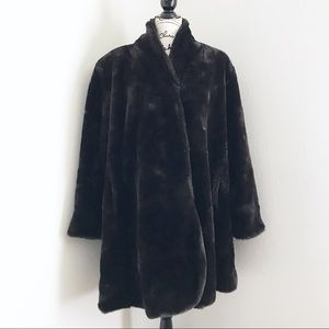Vintage Hillmoor New York Dark Faux Fur Jacket